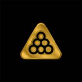 Billiard pozlacené kovové ikony nebo logo vektor