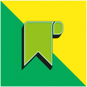 Bookmark Green and yellow modern 3d vector icon logo