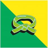 Fekete öv Zöld és sárga modern 3D vektor ikon logó