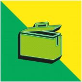 Munitionsdose Grünes und gelbes modernes 3D-Vektorsymbol-Logo