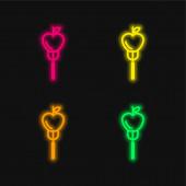Apple On A Fork čtyři barevné zářící neonový vektor ikona