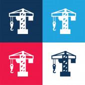 Architektur-Kran-Werkzeug blau und rot vier Farben minimales Symbol-Set