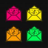 Fiú négy színű izzó neon vektor ikon
