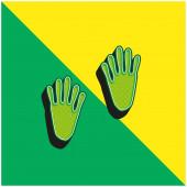 Állati lábnyomok Zöld és sárga modern 3D vektor ikon logó