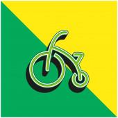Baby Bike With Training Wheels Zelená a žlutá moderní 3D vektorové ikony logo