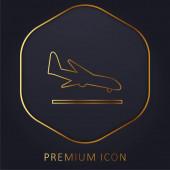 Flugzeug Landung goldene Linie Premium-Logo oder Symbol