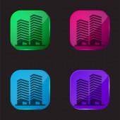 Apartmány čtyři barvy skleněné tlačítko ikona