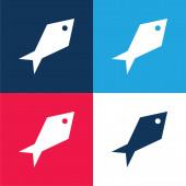 Úhlová Ryba modrá a červená čtyři barvy minimální ikona nastavena