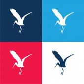 Madár gólya Alak kék és piros négy szín minimális ikon készlet
