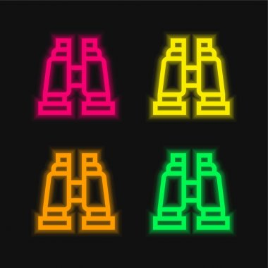 Binoculars four color glowing neon vector icon stock vector