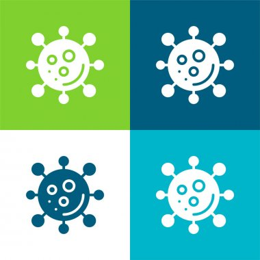 Bacteria Flat four color minimal icon set stock vector