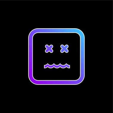 Annulled Emoticon Square Face blue gradient vector icon