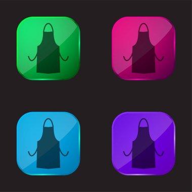 Apron Silhouette four color glass button icon stock vector