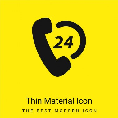 24 Hours Phone Shopping Support minimal bright yellow material icon stock vector