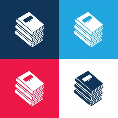 Books Stack For Education blue and red four color minimal icon set stock vector