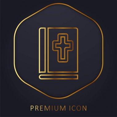 Bible golden line premium logo or icon stock vector