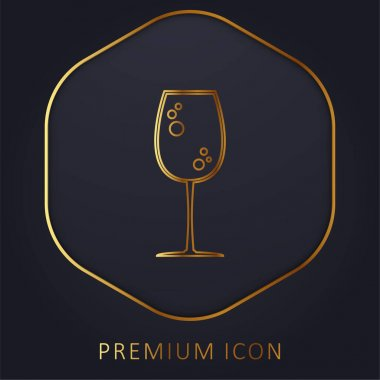 Big Drink Glass With Bubbles golden line premium logo or icon stock vector