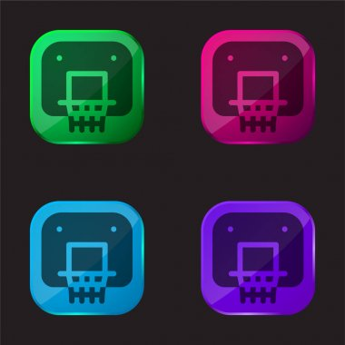 Backboard four color glass button icon stock vector