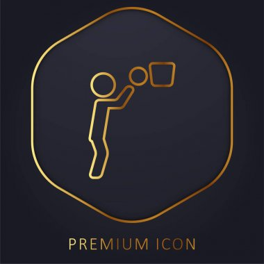 Basketball Player Ball And Basket golden line premium logo or icon stock vector