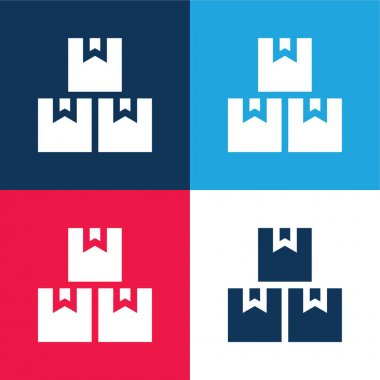 Boxes blue and red four color minimal icon set stock vector