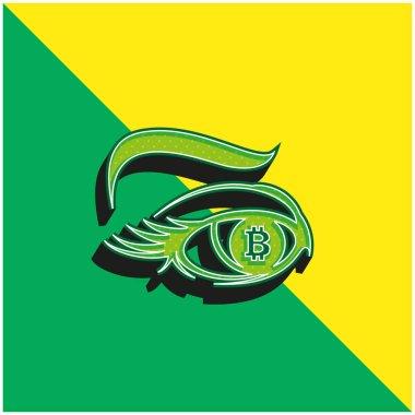 Bitcoin Sign In Eye Iris Green and yellow modern 3d vector icon logo stock vector