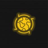 Rund um die Welt gelb leuchtendes Neon-Symbol
