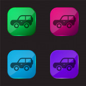 4x4 Car Side Négy színű üveg gomb ikon