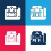 Blueprint modrá a červená čtyři barvy minimální ikona nastavena