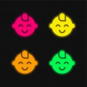 Baby Boy čtyři barvy zářící neonový vektor ikona