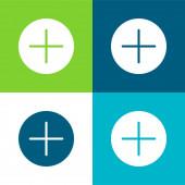 Tlačítko sčítání Flat čtyři barvy minimální ikona nastavena