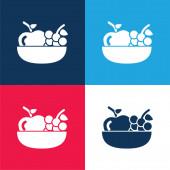 Alma és szőlő egy tálon kék és piros négy szín minimális ikon készlet