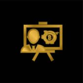 Bitcoin Prezentace pozlacená metalická ikona nebo vektor loga