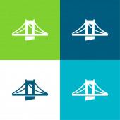 Bridge Flat four color minimal icon set
