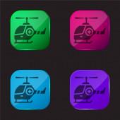 Air Ambulance čtyři barvy skleněné tlačítko ikona