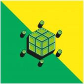 3D tisk Zelená a žlutá moderní 3D vektorové logo ikony