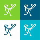 Baseballspieler flach vier Farben minimalen Symbolsatz