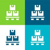 Doboz Lapos négy szín minimális ikon készlet