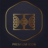 Kosárlabda arany vonal prémium logó vagy ikon