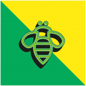 Bee Insect Outline Green and yellow modern 3d vector icon logo