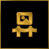 Art Museum pozlacené kovové ikony nebo logo vektor