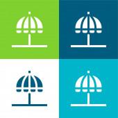 Strand Esernyő Lakás négy szín minimális ikon készlet