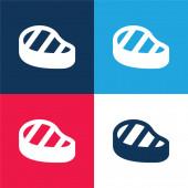 Hovězí steak modrá a červená čtyři barvy minimální ikona nastavena