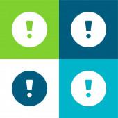 Pozornost Značka Byt čtyři barvy minimální ikona nastavena