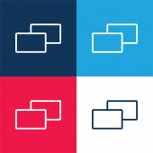 2 Quadrate blau und rot vier Farben Minimalsymbolsatz