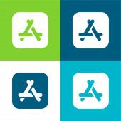 App Store lakás négy szín minimális ikon készlet