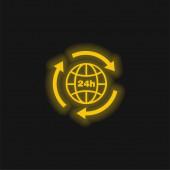 24 hodin Země mřížka symbol se šipkami kruh kolem žluté zářící neon ikona