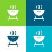Grill lakás négy szín minimális ikon készlet