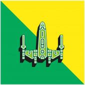 Bitevní loď Zelená a žlutá moderní 3D vektorové ikony logo