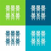 Rezervace Byt čtyři barvy minimální ikona nastavena