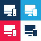 Adaptives blaues und rotes Vier-Farben-Minimalsymbolset